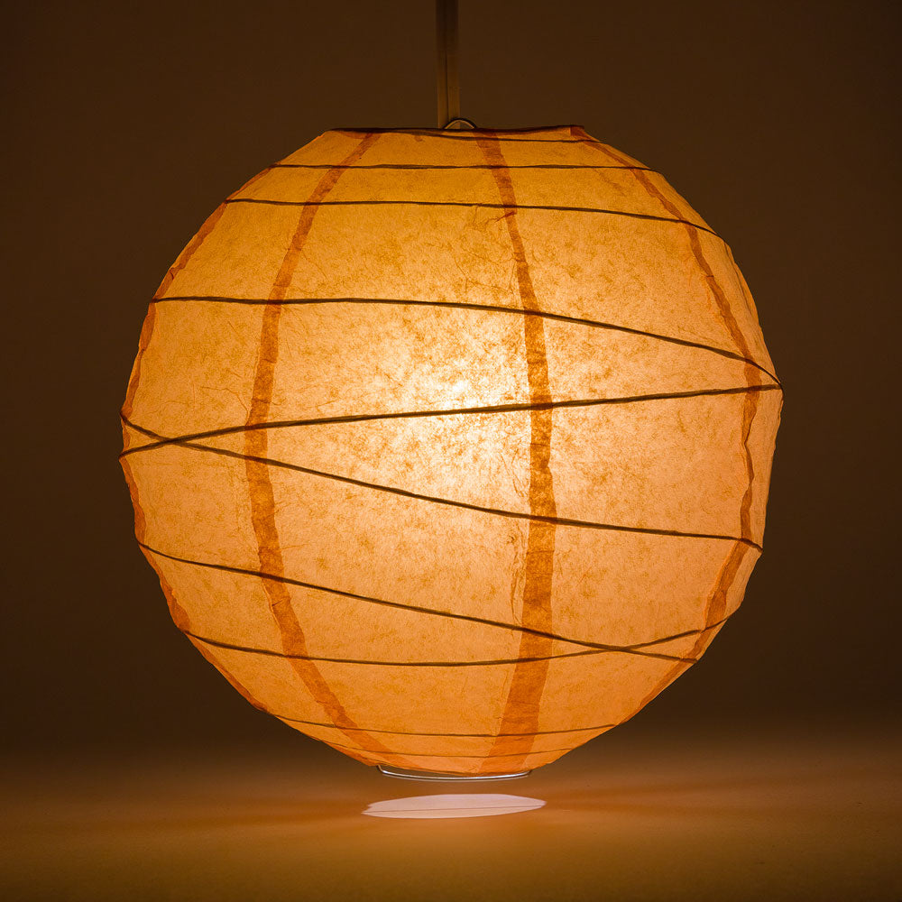 "8"" Peach / Orange Coral Round Paper Lantern, Crisscross Ribbing, Chinese Hanging Wedding & Party Decoration - PaperLanternStore.com - Paper Lanterns, Decor, Party Lights & More"