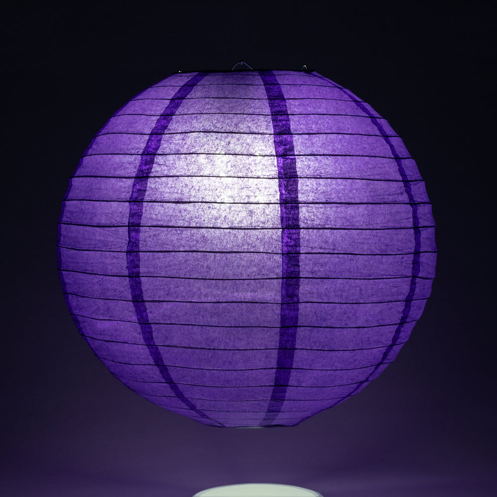 "10"" Plum Purple Round Paper Lantern, Even Ribbing, Chinese Hanging Wedding & Party Decoration"