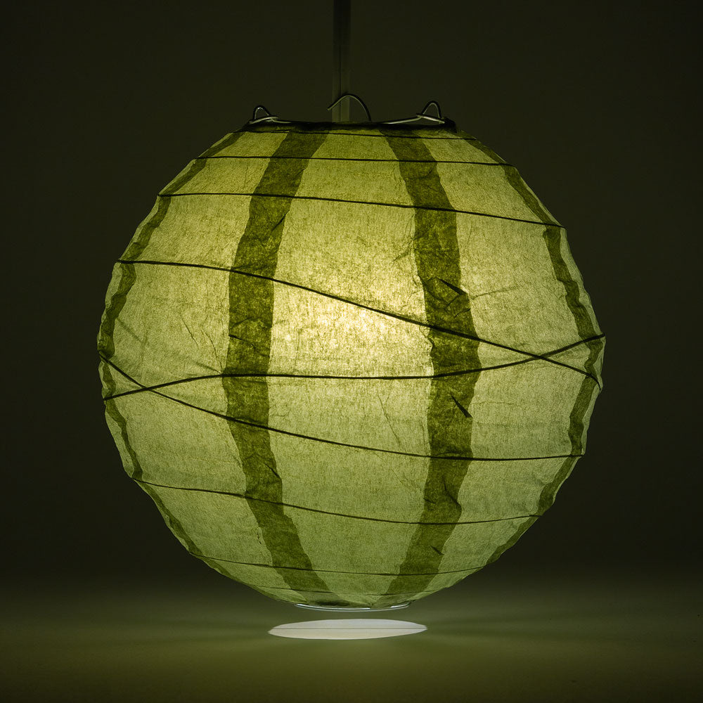 "8"" Sea Green Round Paper Lantern, Crisscross Ribbing, Chinese Hanging Wedding & Party Decoration"