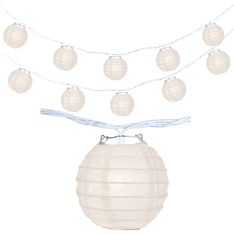 "10 Socket Beige Round Paper Lantern Party String Lights (4"" Lanterns, Expandable)"