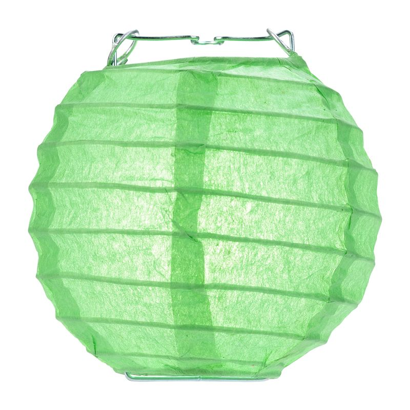 "10 Socket Grass Greenery Round Paper Lantern Party String Lights (4"" Lanterns, Expandable)"
