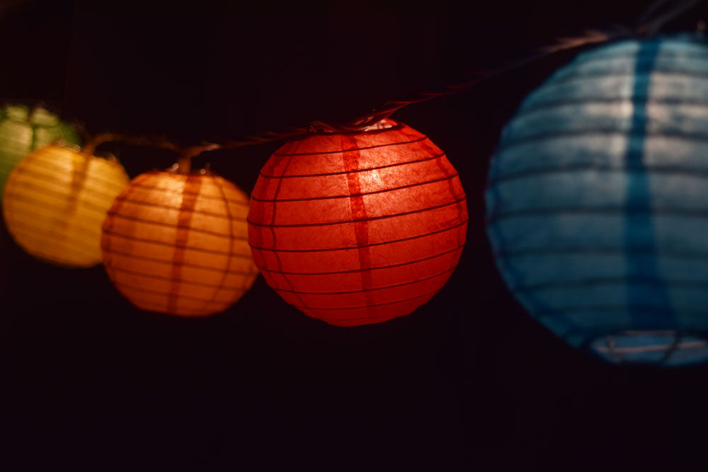"10 Socket Multi Color Round Paper Lantern Party String Lights (4"" Lanterns, Expandable) - PaperLanternStore.com - Paper Lanterns, Decor, Party Lights & More"