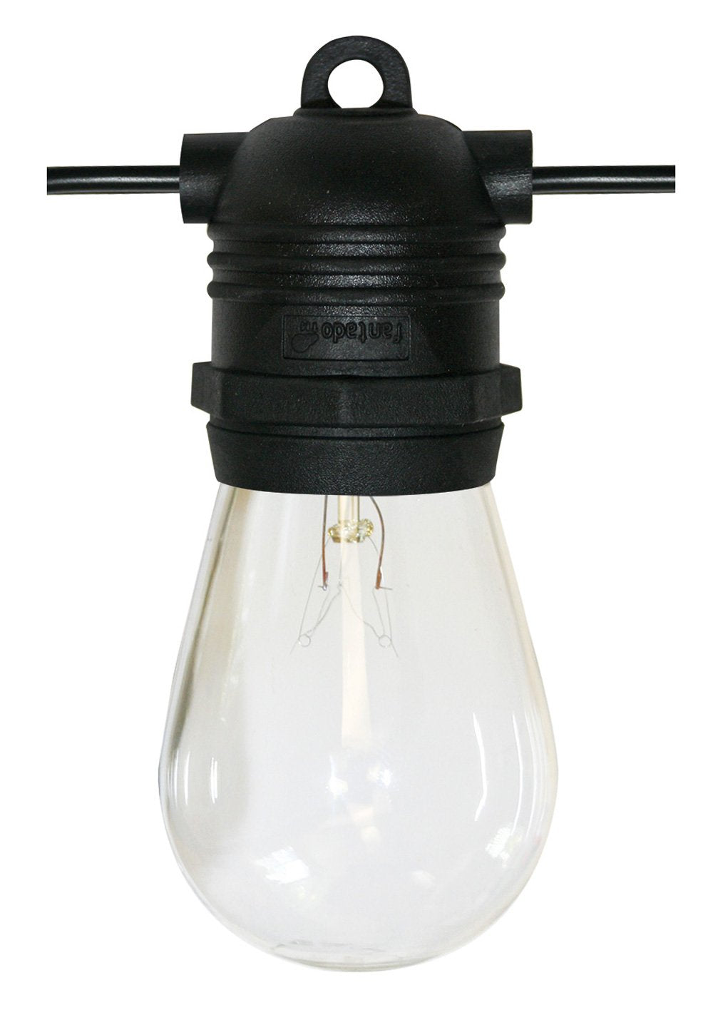 10 Socket Outdoor Commercial String Light Set, S14 Bulbs, 21 FT Black Cord w/ E26 Medium Base, Weatherproof SJTW - PaperLanternStore.com - Paper Lanterns, Decor, Party Lights & More