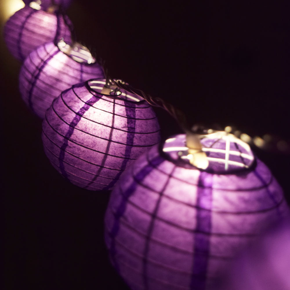 "10 Socket Purple Round Paper Lantern Party String Lights (4"" Lanterns, Expandable)"