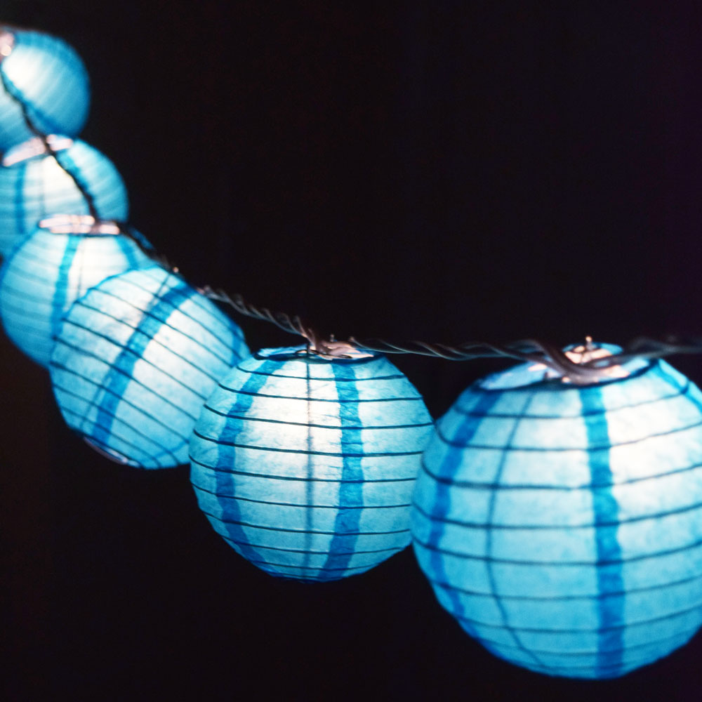 "10 Socket Turquoise Round Paper Lantern Party String Lights (4"" Lanterns, Expandable)"