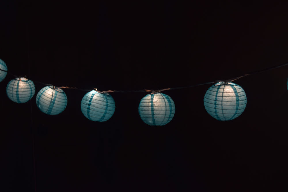 "10 Socket Water Blue Round Paper Lantern Party String Lights (4"" Lanterns, Expandable)"