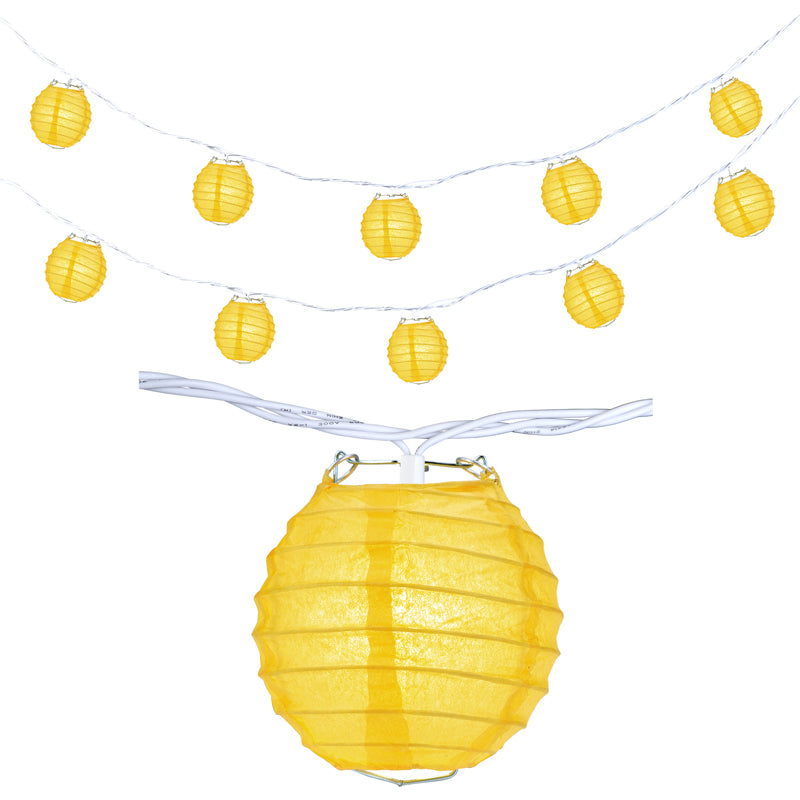 "10 Socket Yellow Round Paper Lantern Party String Lights (4"" Lanterns, Expandable)"