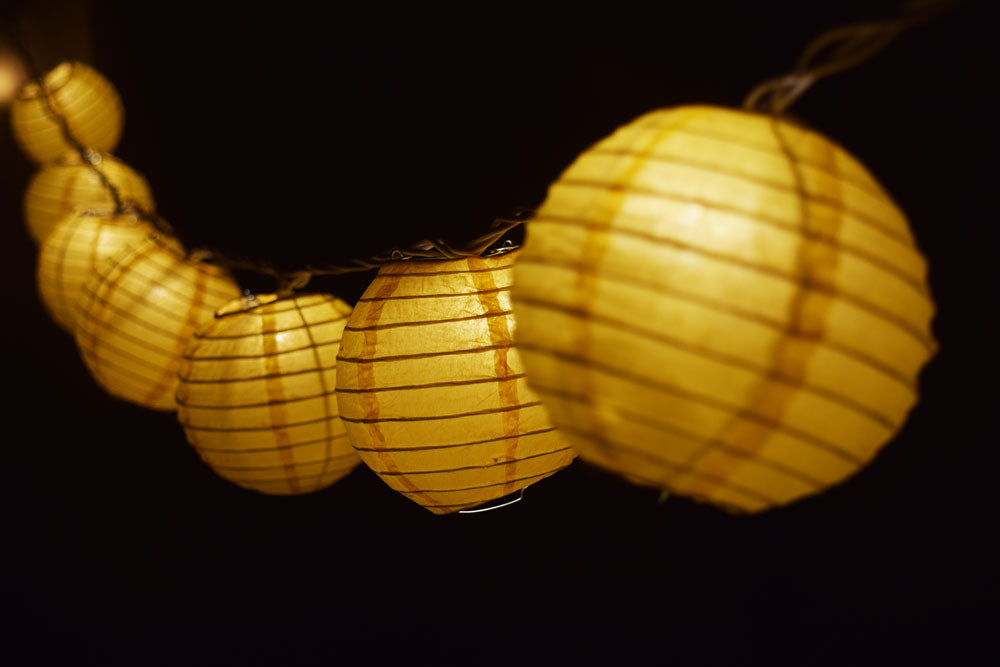 "4"" Yellow Round Paper Lantern, Even Ribbing, Hanging Decoration (10 PACK)"