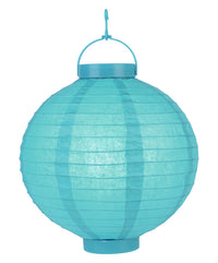 "BLOWOUT 10"" Turquoise 16 LED Round Battery Operated Paper Lantern w/ Built-in Light-Up Switch"