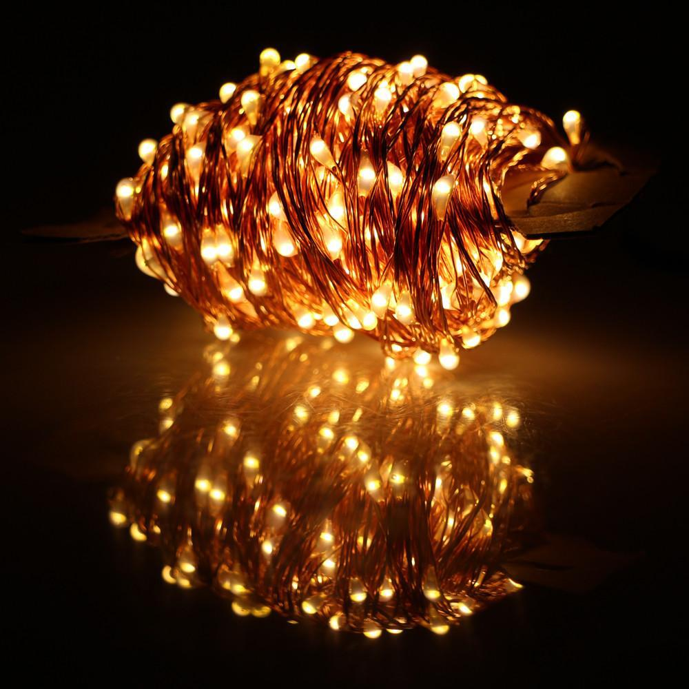 33 FT | 100 LED Warm White Waterproof Copper Wire Micro Fairy String Lights with AC Plug-In Power