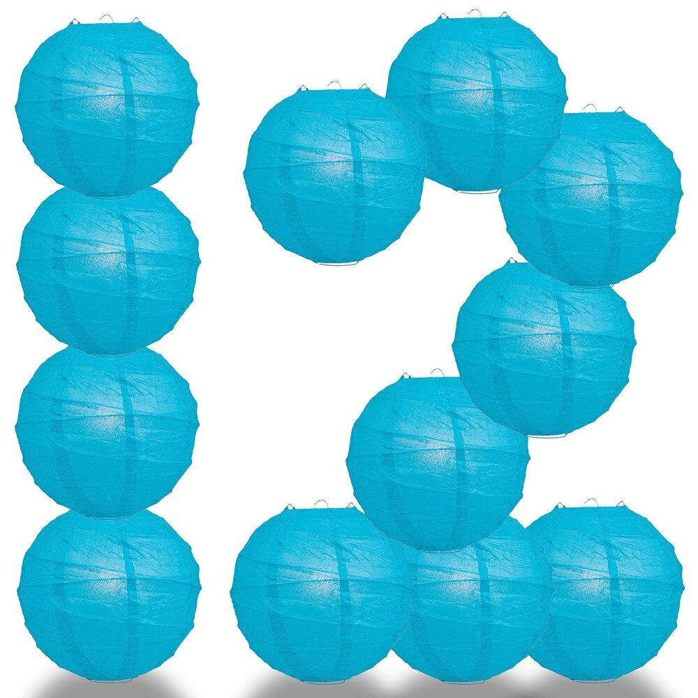 "BULK PACK (12) 20"" Turquoise Round Paper Lantern, Crisscross Ribbing, Chinese Hanging Wedding & Party Decoration - PaperLanternStore.com - Paper Lanterns, Decor, Party Lights & More"