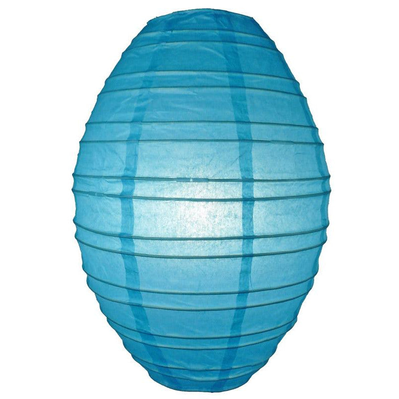 Turquoise Kawaii Unique Oval Egg Shaped Paper Lantern, 10-inch x 14-inch - PaperLanternStore.com - Paper Lanterns, Decor, Party Lights & More