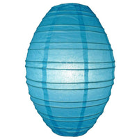 Turquoise Kawaii Unique Oval Egg Shaped Paper Lantern, 10-inch x 14-inch