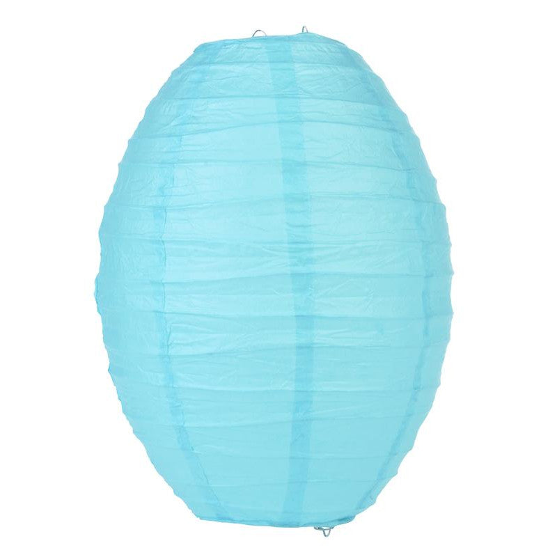 Water Blue Kawaii Unique Oval Egg Shaped Paper Lantern, 10-inch x 14-inch - PaperLanternStore.com - Paper Lanterns, Decor, Party Lights & More