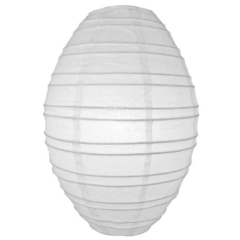 White Kawaii Unique Oval Egg Shaped Paper Lantern, 10-inch x 14-inch