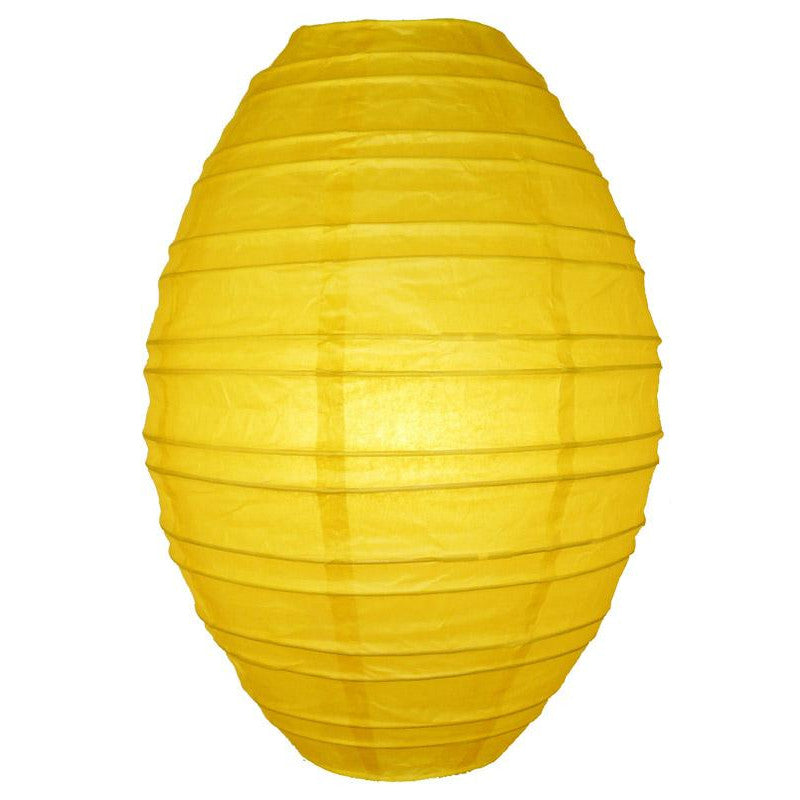 Yellow Kawaii Unique Oval Egg Shaped Paper Lantern, 10-inch x 14-inch