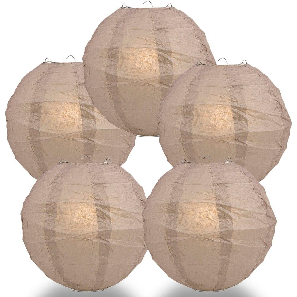 "BULK PACK (5) 16"" Mocha / Light Brown Round Paper Lantern, Crisscross Ribbing, Chinese Hanging Wedding & Party Decoration - PaperLanternStore.com - Paper Lanterns, Decor, Party Lights & More"