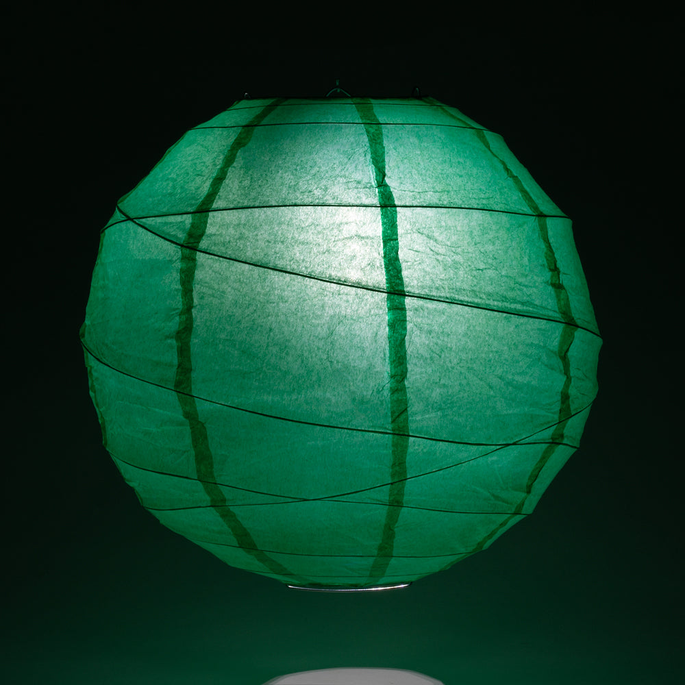 "12"" Arcadia Teal Green Round Paper Lantern, Crisscross Ribbing, Hanging Decoration"
