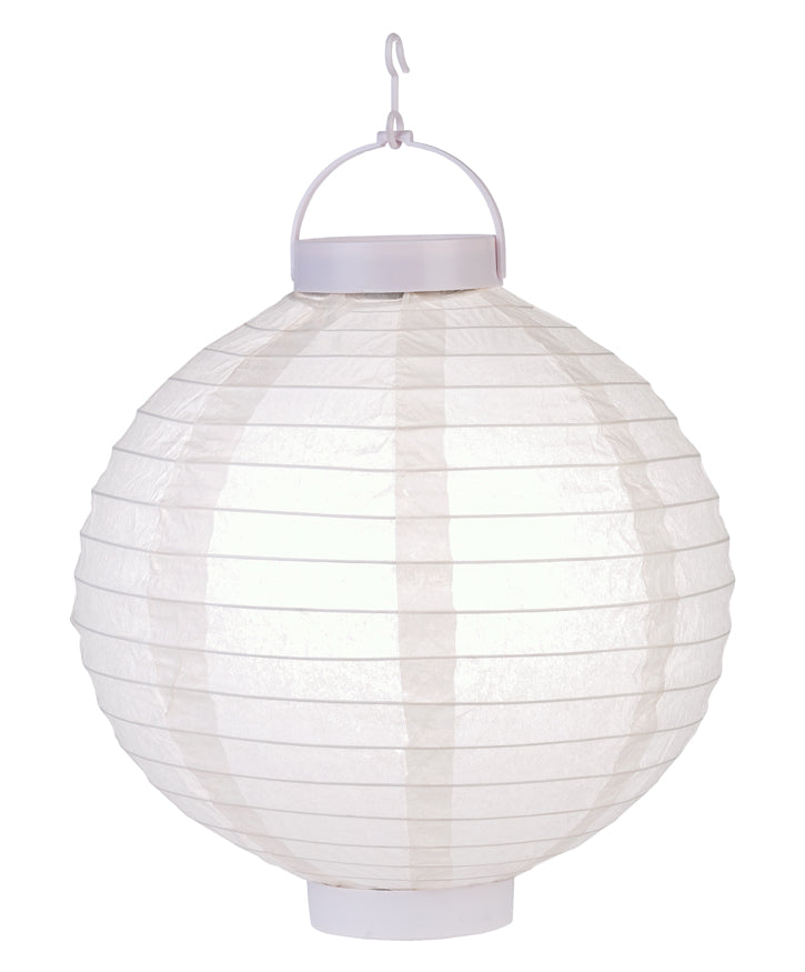 "BLOWOUT 12"" Beige 16 LED Round Battery Operated Paper Lantern w/ Built-in Light-Up Switch"