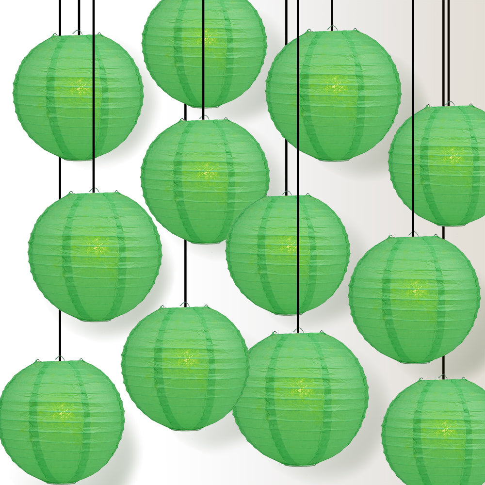 "12 PACK | 12"" Emerald Green Even Ribbing Round Paper Lantern, Hanging Combo Set - PaperLanternStore.com - Paper Lanterns, Decor, Party Lights & More"
