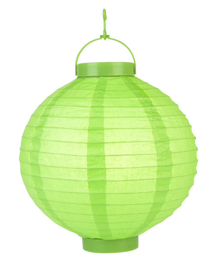 "BLOWOUT 12"" ""Budget Friendly"" Battery Operated LED Paper Lantern - Grass Green"