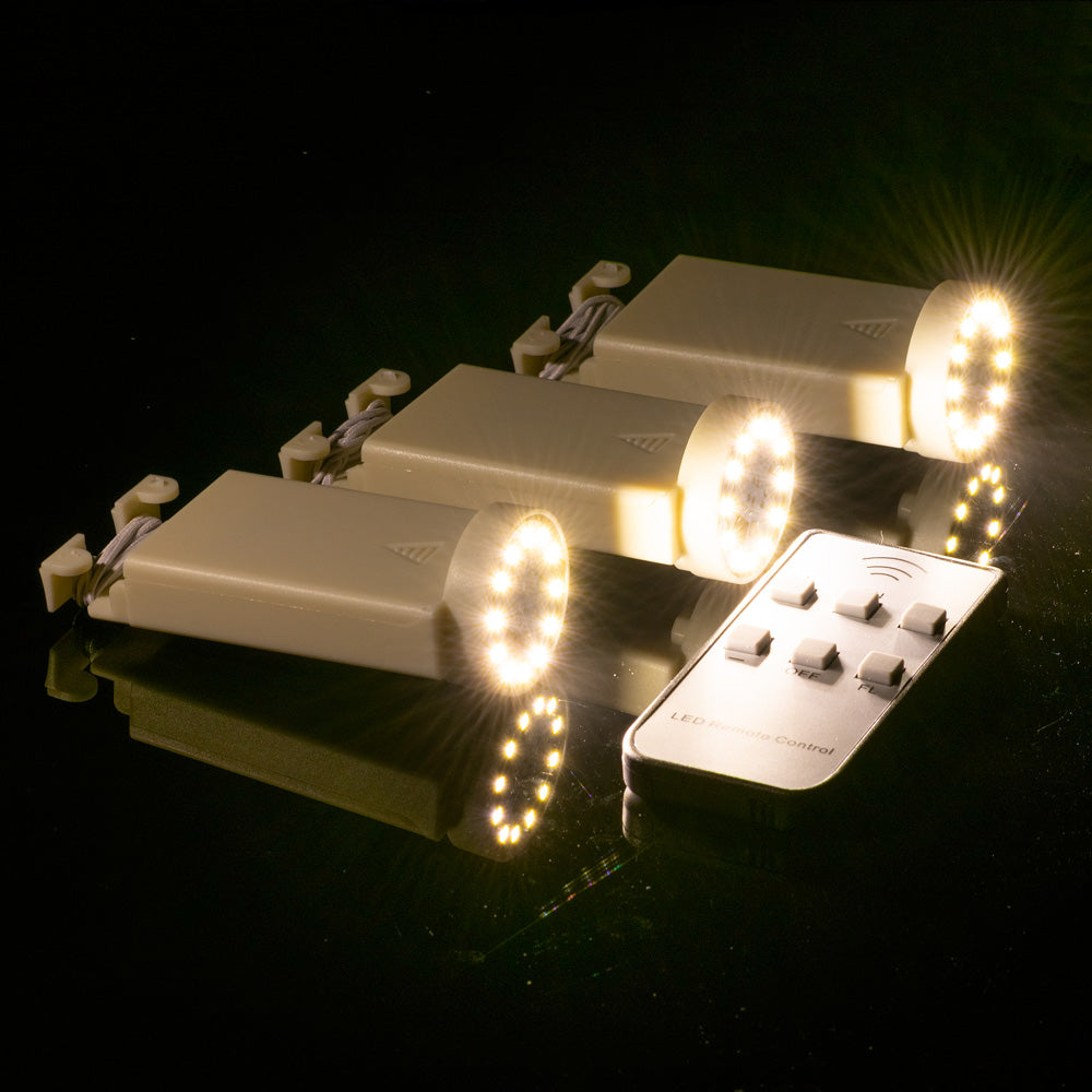 Fantado MoonBright™ BULK COMBO 12 LED Multi-function Remote Controlled Battery Powered Lights for Lanterns, Warm White (6 PACK + Remote Control)
