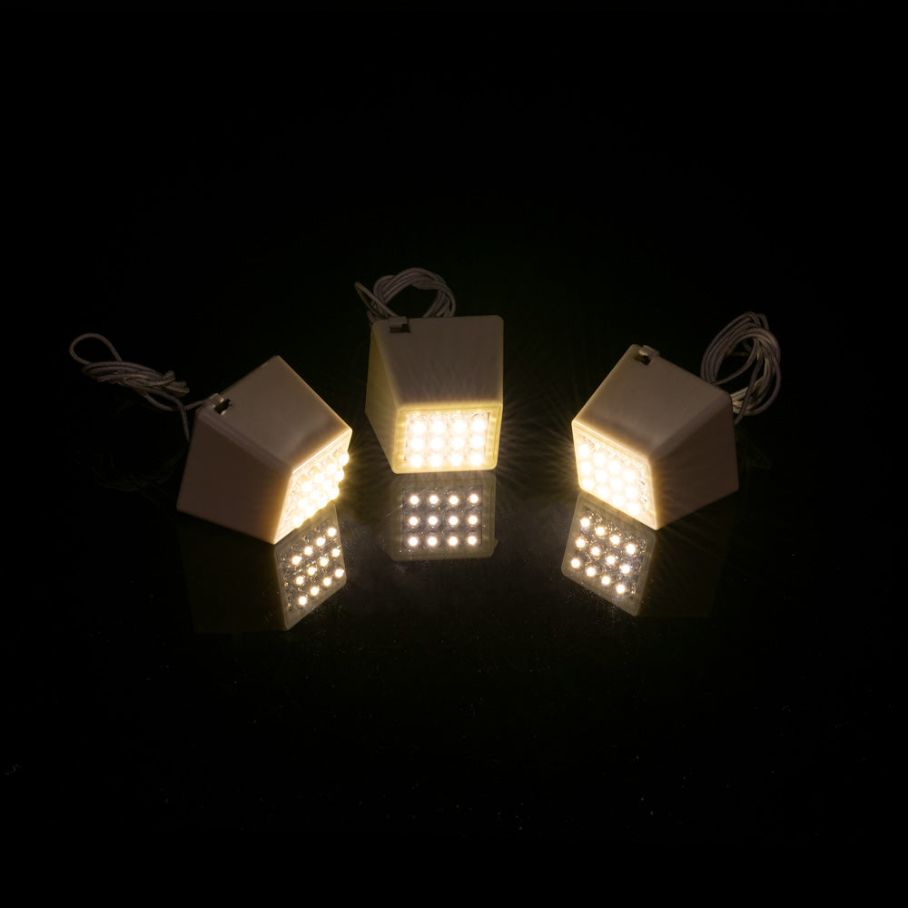 Fantado MoonBright™ BULK PACK (10) 12-LED Super Bright Cube Lights for Lanterns, Warm White (Battery Powered)