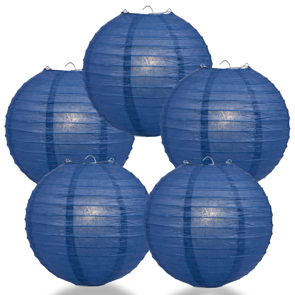 "5 PACK | 12"" Navy Blue Even Ribbing Round Paper Lanterns"