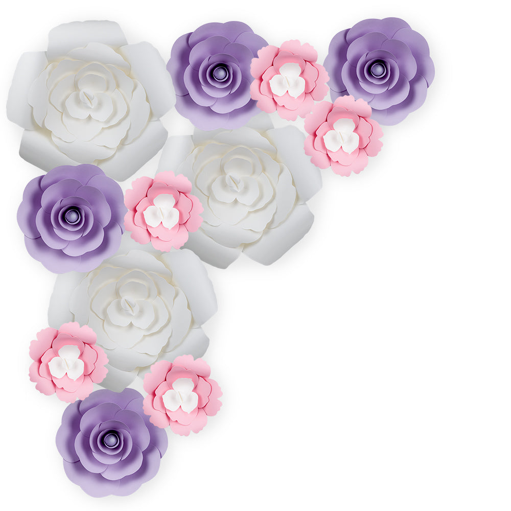 12-Pc Combo White Rose / Lavender Ranunculus Paper Flower Backdrop Wall Decor for Weddings, Photo Shoots, Birthday Parties and More