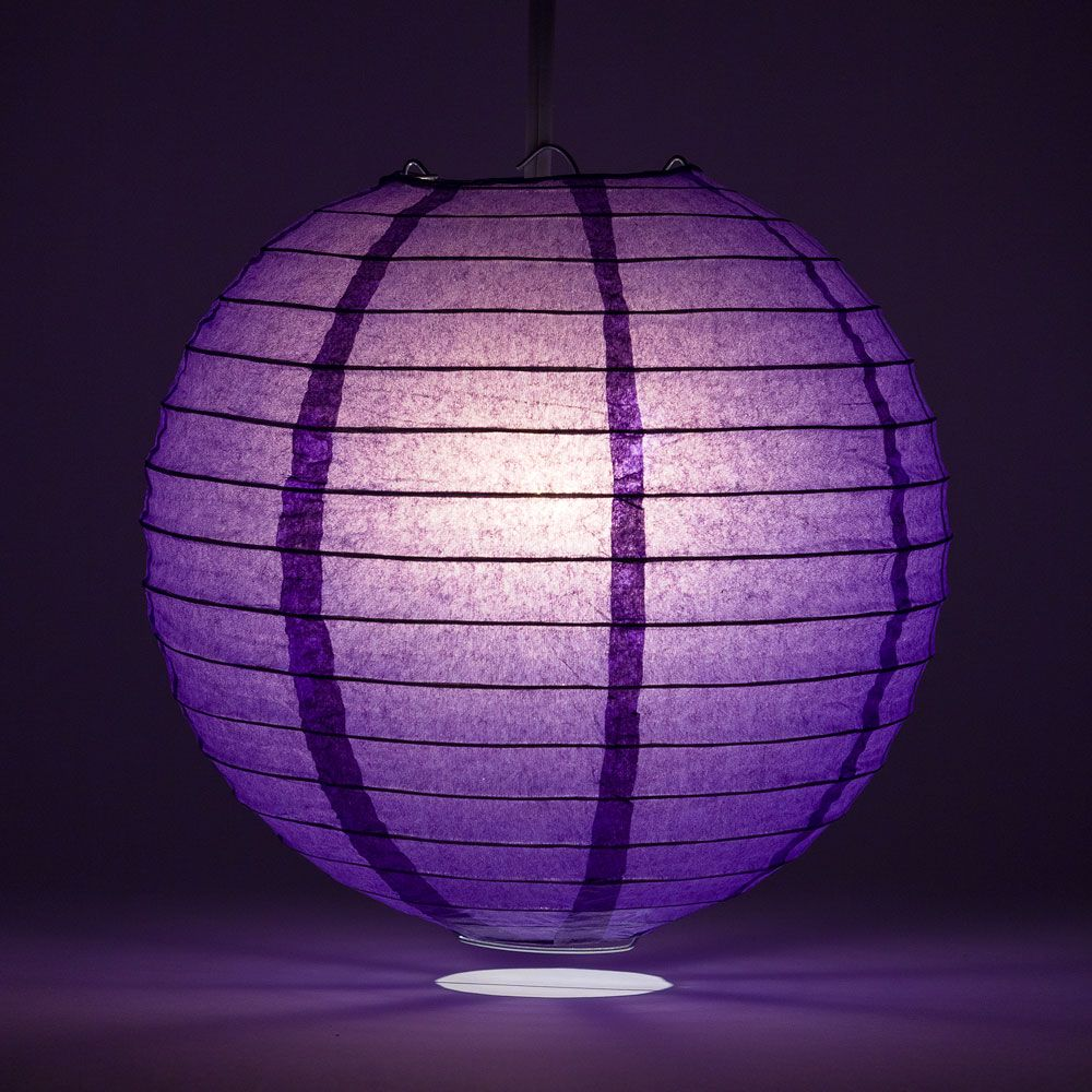 "12"" Royal Purple Round Paper Lantern, Even Ribbing, Chinese Hanging Wedding & Party Decoration"