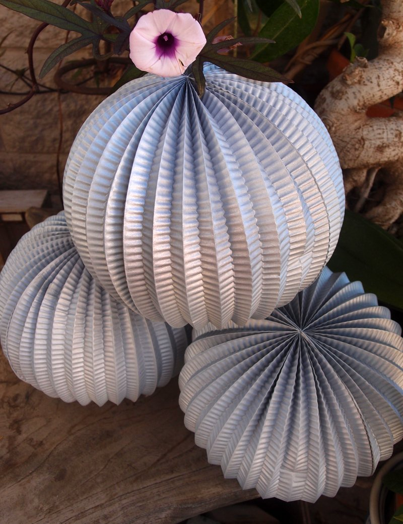 "BLOWOUT 12"" Silver Accordion Paper Lantern Balls - (3 PACK) - PaperLanternStore.com - Paper Lanterns, Decor, Party Lights & More"