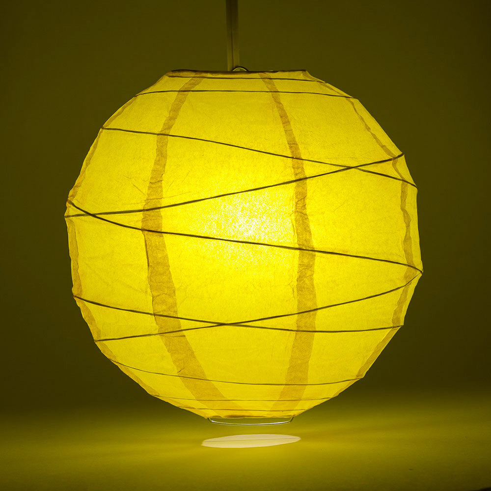 "12"" Yellow Round Paper Lantern, Crisscross Ribbing, Chinese Hanging Wedding & Party Decoration"