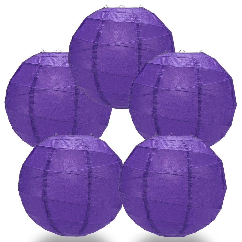 "BULK PACK (5) 8"" Plum Purple Round Paper Lantern, Crisscross Ribbing, Hanging Decoration - PaperLanternStore.com - Paper Lanterns, Decor, Party Lights & More"