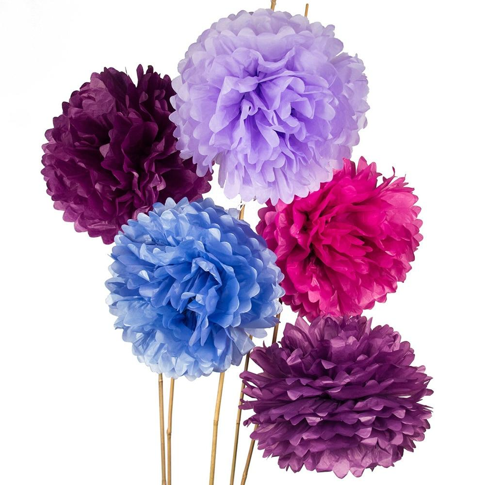 Shades of Purple 15 Inch Tissue Paper Flower Pom Poms -, Set of 5 - PaperLanternStore.com - Paper Lanterns, Decor, Party Lights & More