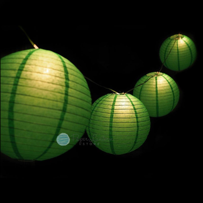 "MoonBright 12"" Green Paper Lantern String Light Set (10-PACK Combo Kit)"