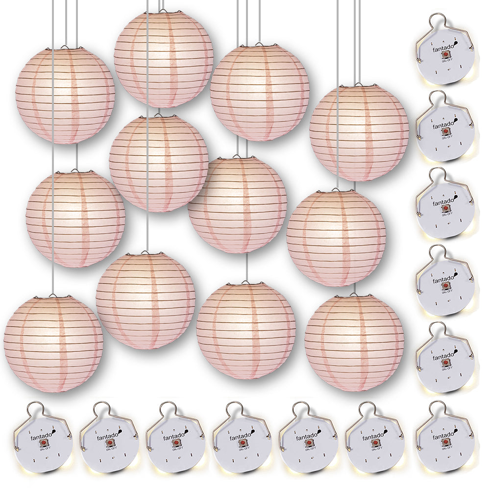 "MoonBright 12"" Pink Paper Lanterns with Budget Friendly OmniDisk LED Lights (12-PACK Combo Kit)"