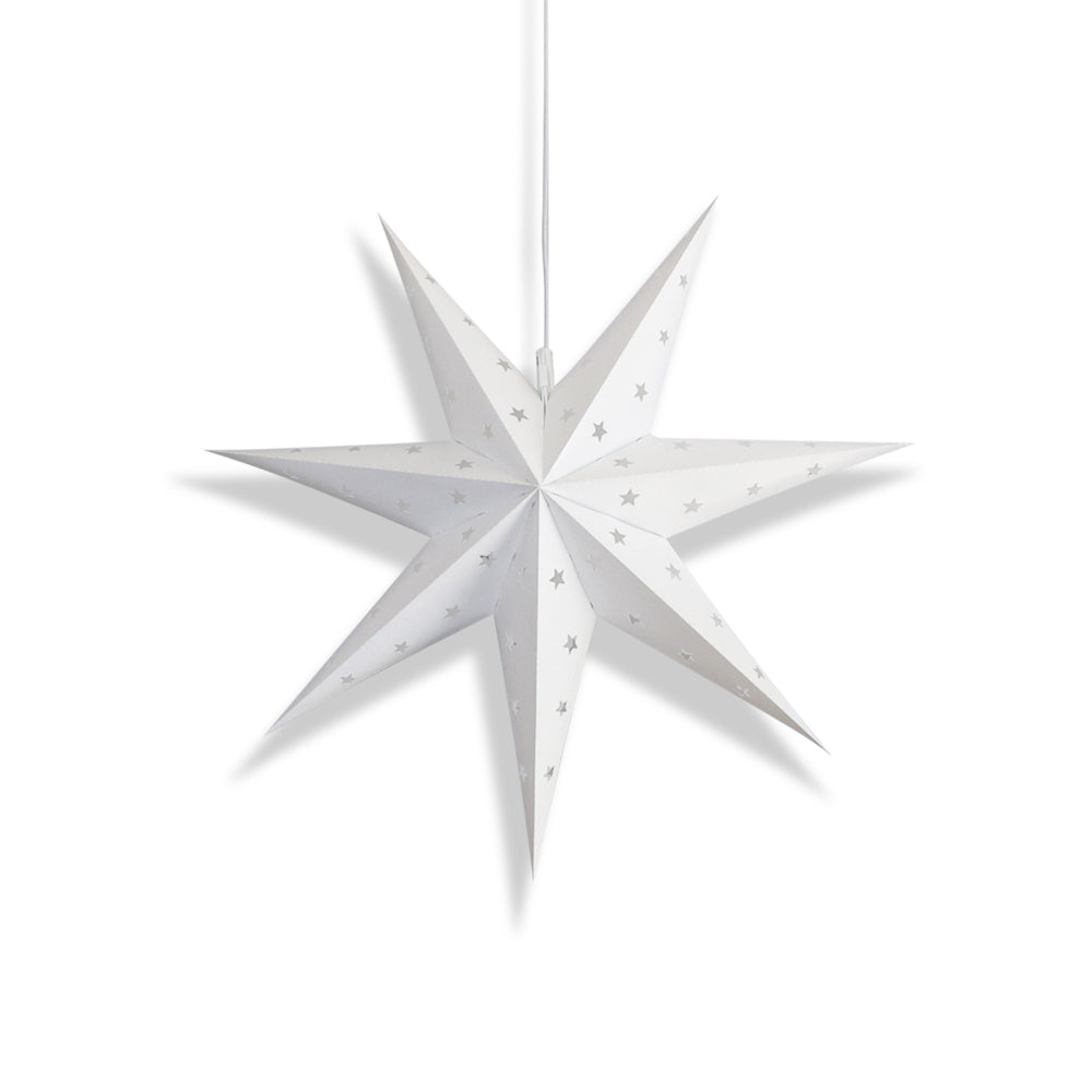 "12"" White 7-Point Weatherproof Star Lantern Lamp, Hanging Decoration"