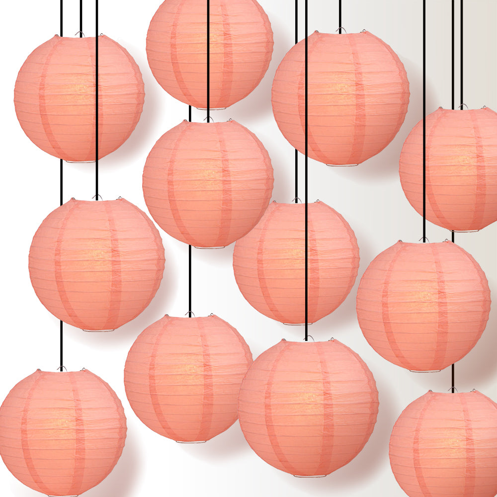 "12 PACK | 12"" Roseate / Pink Coral Even Ribbing Round Paper Lantern, Hanging Combo Set - PaperLanternStore.com - Paper Lanterns, Decor, Party Lights & More"