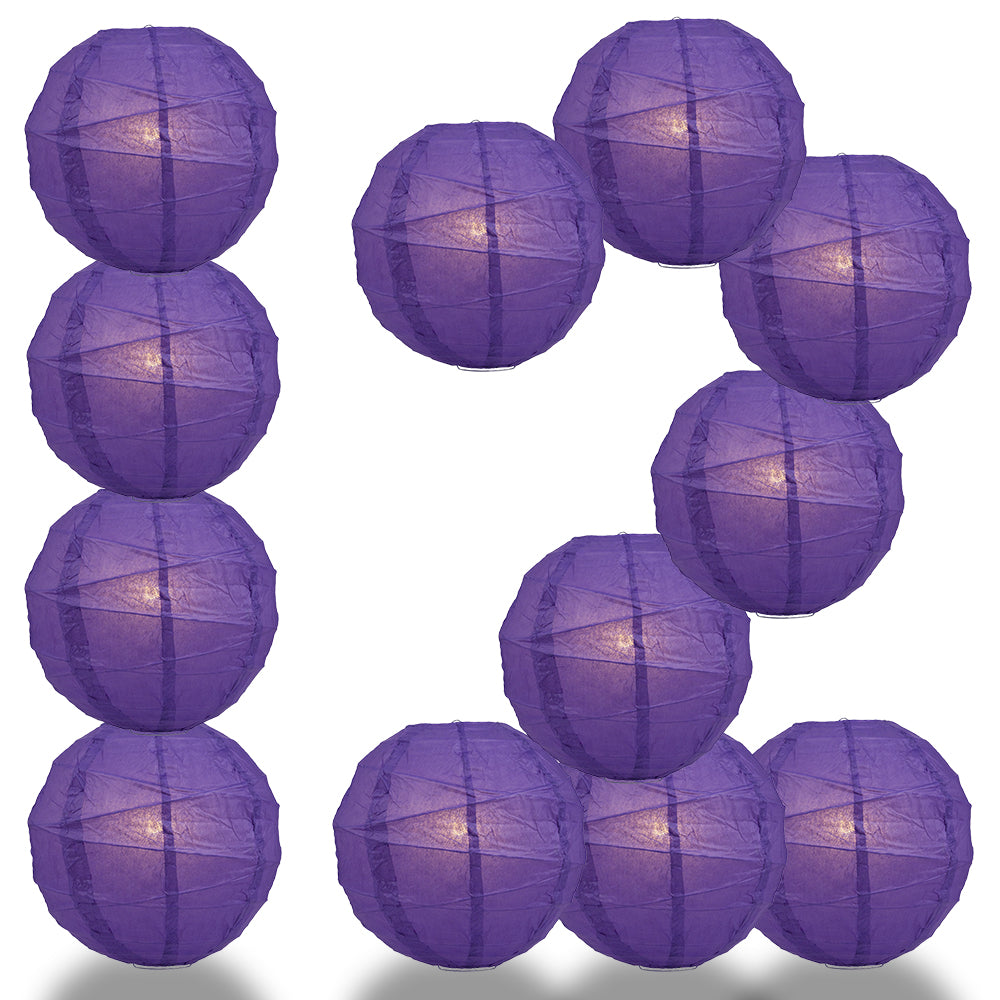 "12 PACK | 12""  Dark Purple Crisscross Ribbing, Hanging Paper Lantern Combo Set"