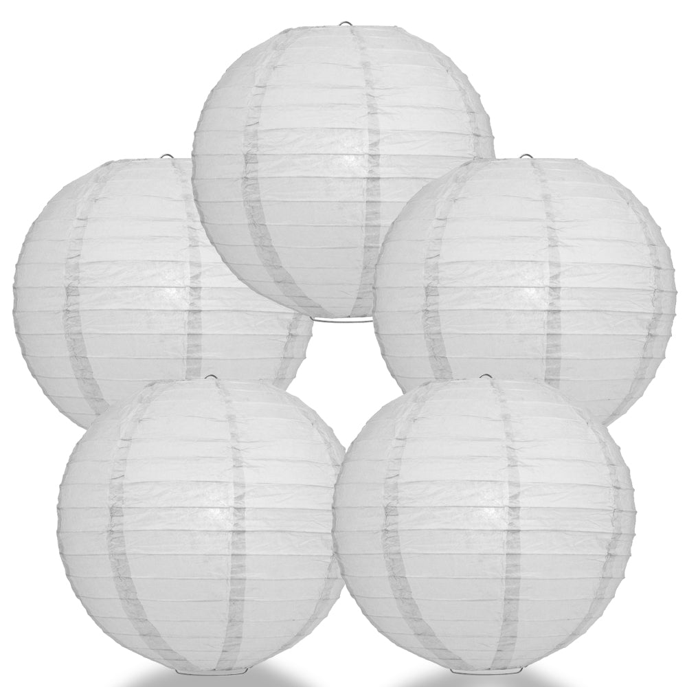 "5 PACK | 12"" Grey Even Ribbing Round Paper Lanterns"