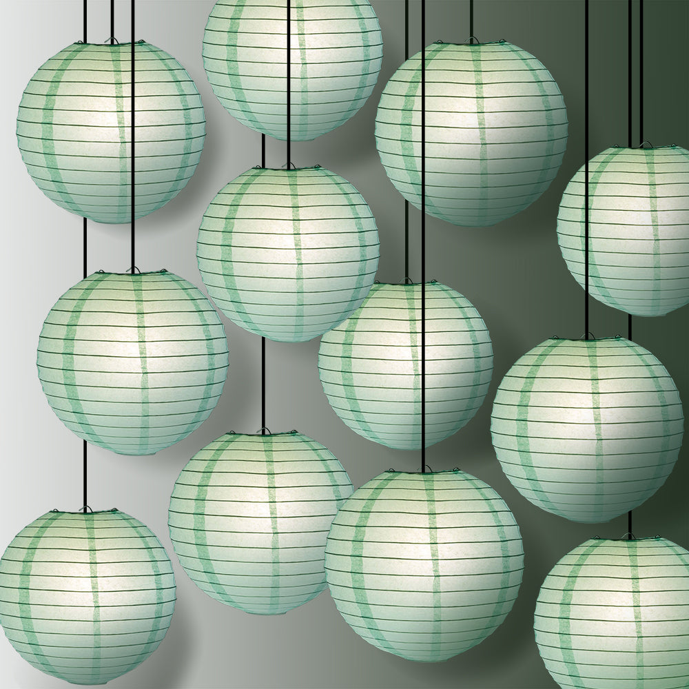 "12 PACK | 12"" Cool Mint Green Even Ribbing Round Paper Lantern, Hanging Combo Set - PaperLanternStore.com - Paper Lanterns, Decor, Party Lights & More"