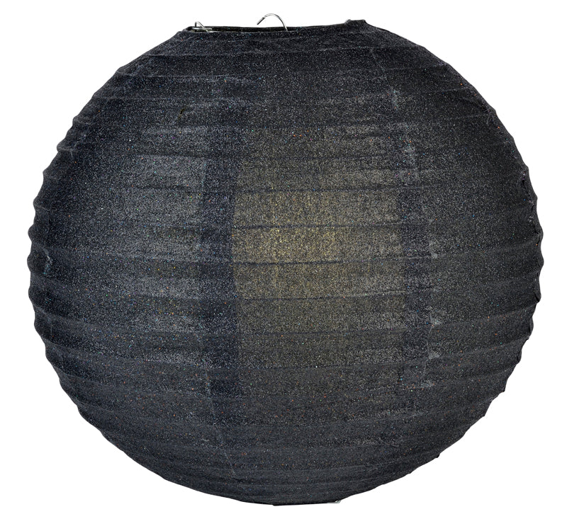 "12"" Black Glitter Round Paper Lantern, Chinese Hanging Wedding & Party Decoration"