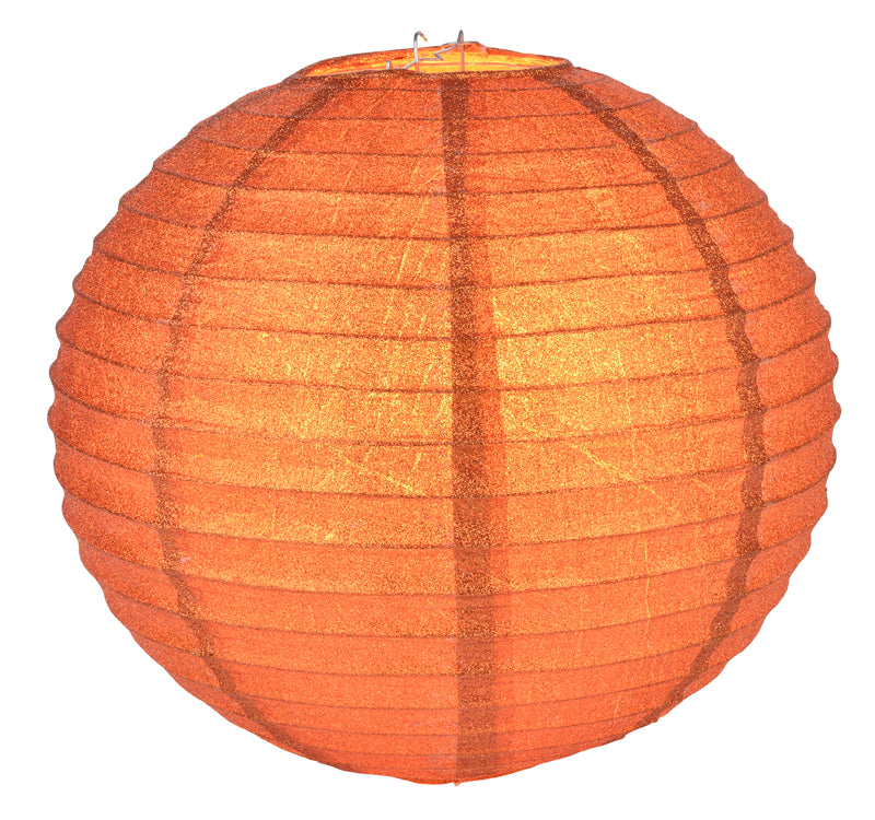 "BLOWOUT 12"" Burnt Orange Glitter Round Paper Lantern, Hanging Decoration"