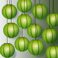 "12 PACK | 12"" Grass Green Even Ribbing Round Paper Lantern, Hanging Combo Set - PaperLanternStore.com - Paper Lanterns, Decor, Party Lights & More"