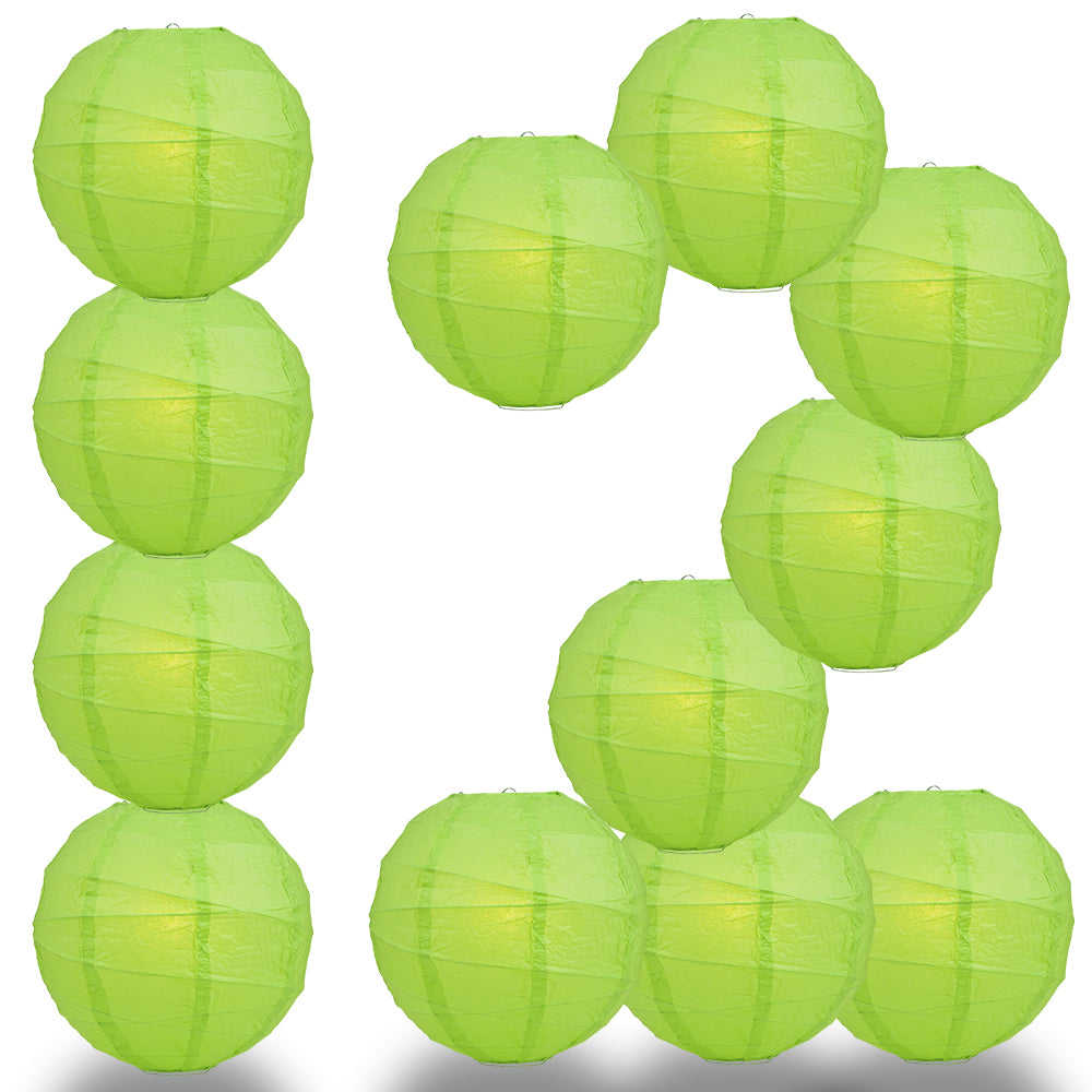 "12 PACK | 12""  Grass Green Crisscross Ribbing, Hanging Paper Lantern Combo Set"
