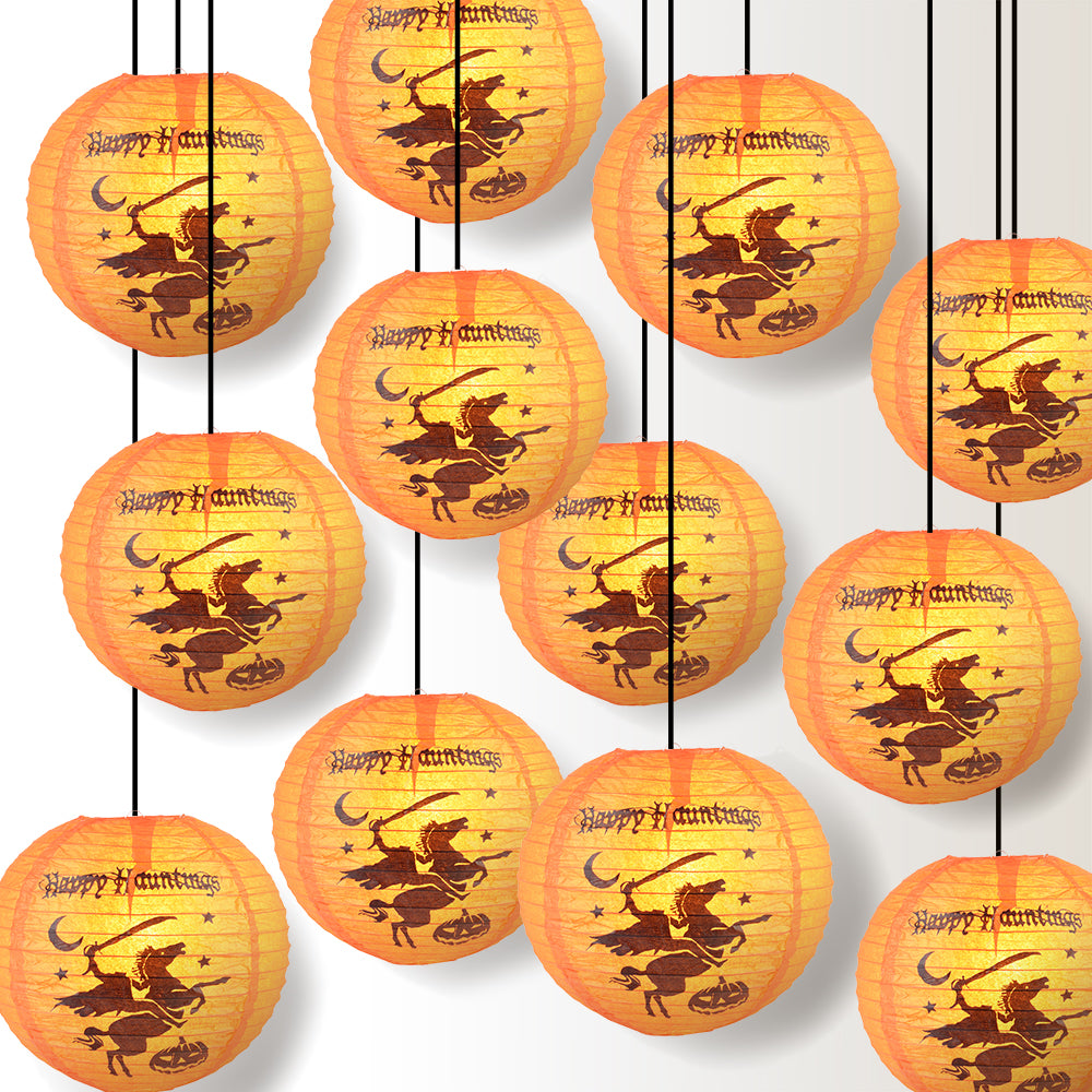 "12 PACK | 12"" Headless Horseman Halloween Paper Lantern - PaperLanternStore.com - Paper Lanterns, Decor, Party Lights & More"