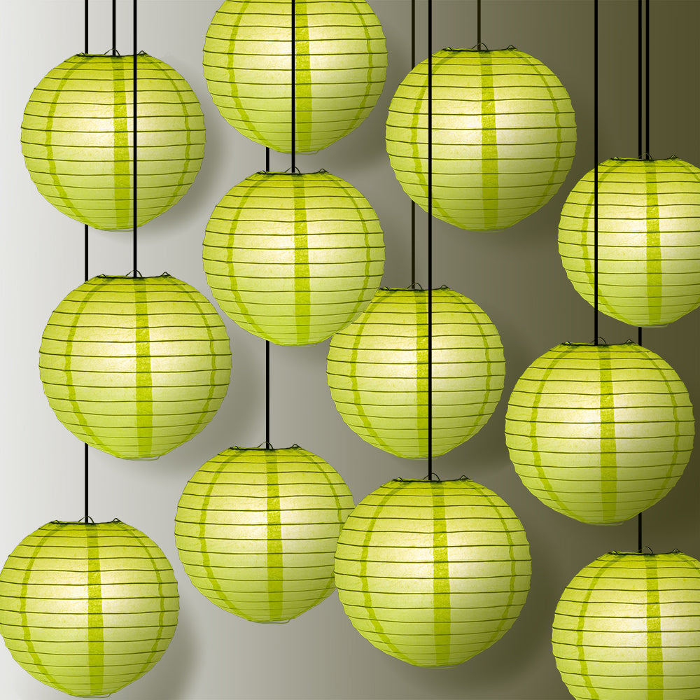 "12 PACK | 12"" Light Lime Even Ribbing Round Paper Lantern, Hanging Combo Set - PaperLanternStore.com - Paper Lanterns, Decor, Party Lights & More"