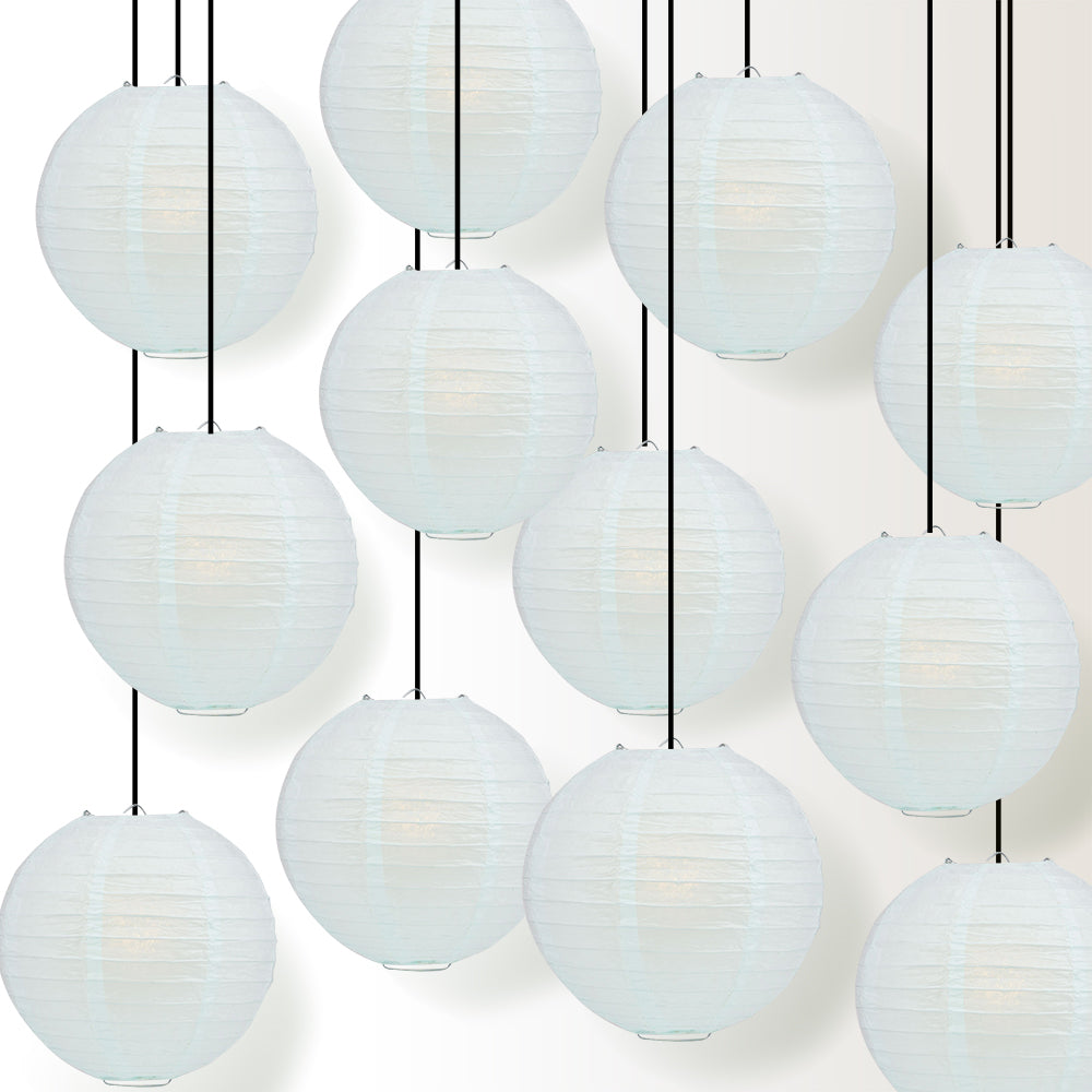 "12 PACK | 12"" Arctic Spa Blue Even Ribbing Round Paper Lantern, Hanging Combo Set - PaperLanternStore.com - Paper Lanterns, Decor, Party Lights & More"