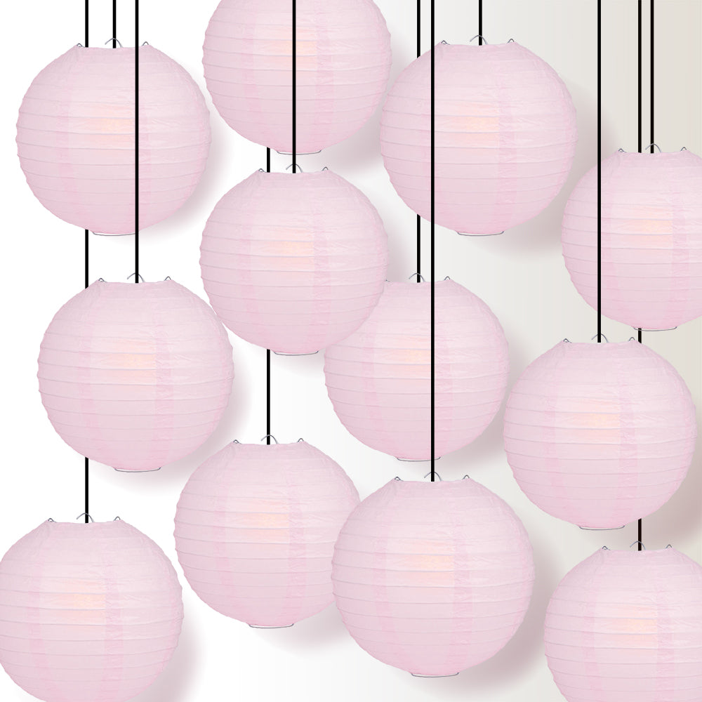 "12 PACK | 12"" Pink Even Ribbing Round Paper Lantern, Hanging Combo Set"