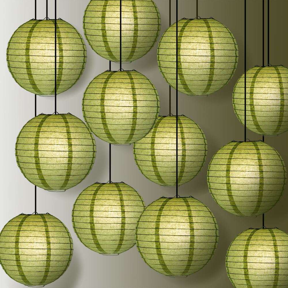 "12 PACK | 12"" Sea Green Even Ribbing Round Paper Lantern, Hanging Combo Set - PaperLanternStore.com - Paper Lanterns, Decor, Party Lights & More"